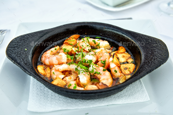 Pan of Garlic Prawns - Stock Photo - Images
