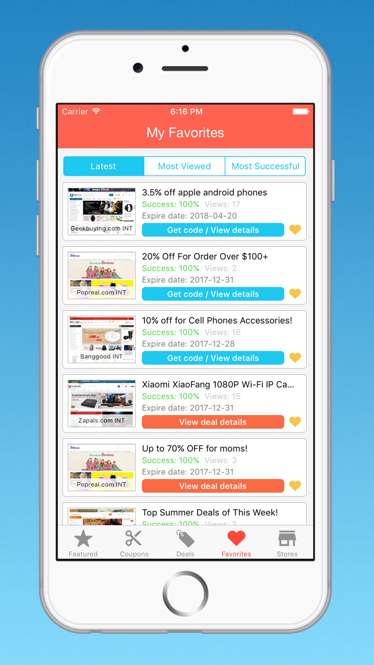 Coupons deals template app