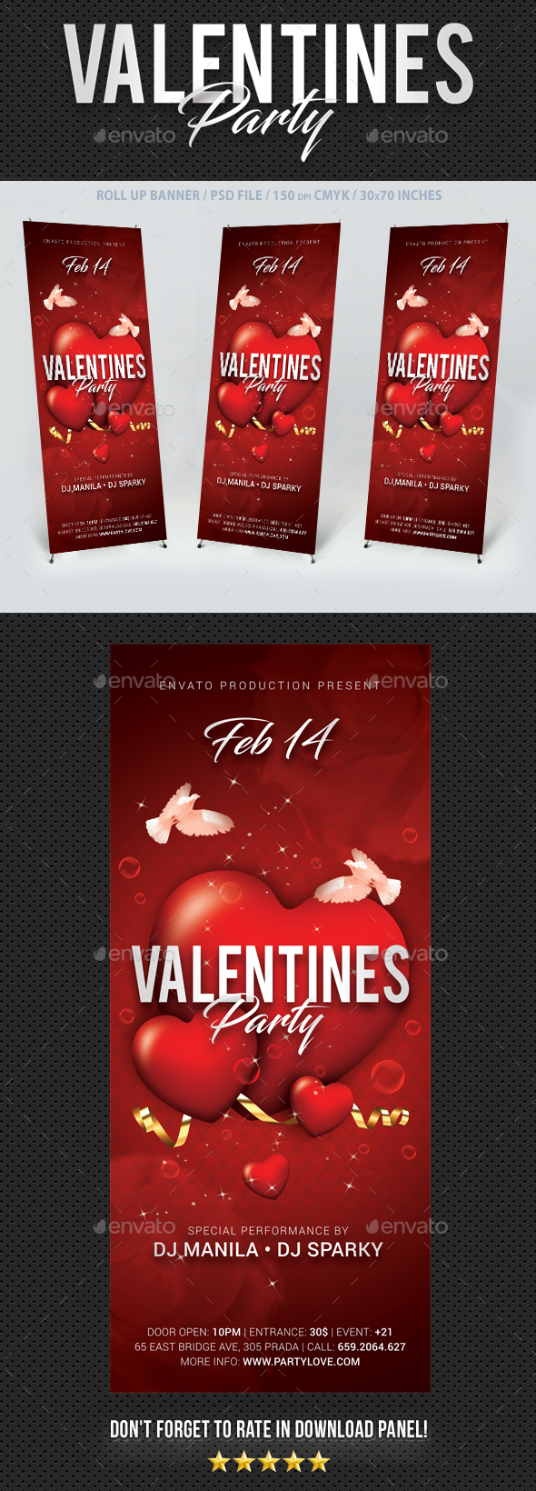 Valentines Day Party Banner - Signage Print Templates