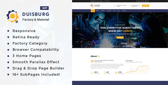 Duisburg - Factory & Industrial Business WordPress Theme - Business Corporate