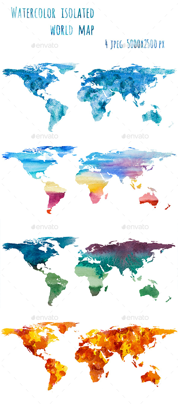 Watercolor World Map - Nature Backgrounds