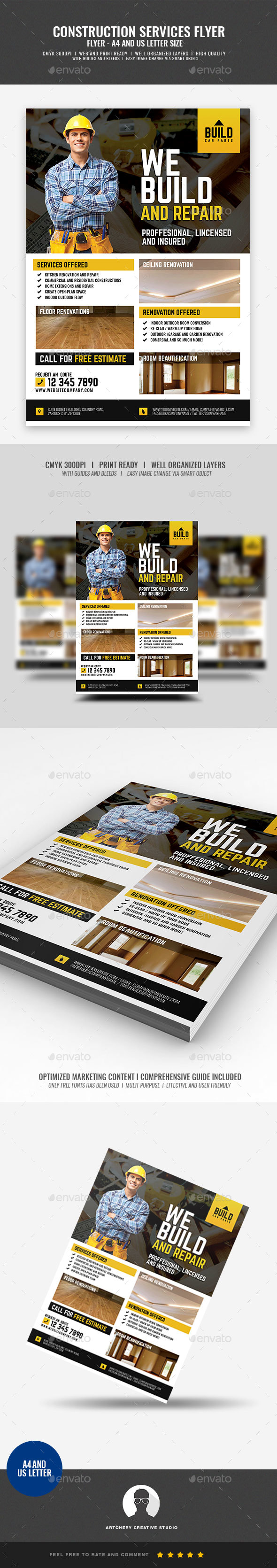 Home Construction and Renovation Services - Corporate Flyers