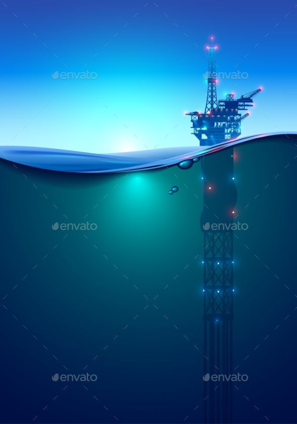 Oil Offshore Drilling Platform in the Ocean - Industries Business
