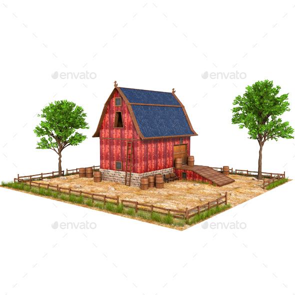 Old Farm Building - Architecture 3D Renders