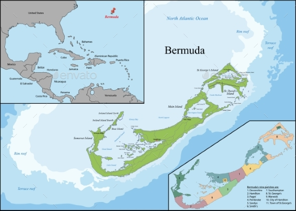 Map of Bermuda - Backgrounds Decorative