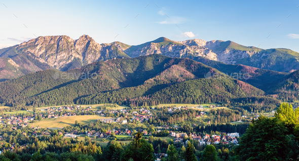 Inspiring Mountains Landscape Panorama, beautiful summer day in - Stock Photo - Images