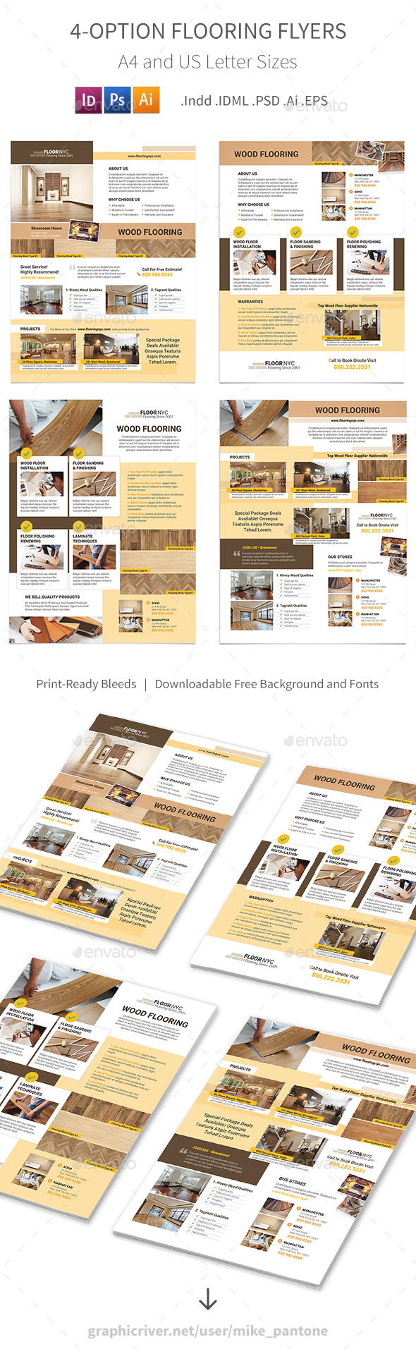 Flooring Service Flyers – 4 Options - Corporate Flyers
