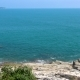 Rocky Coast of the Ocean and Green Tropic Tree on the Left, Koh Samui - VideoHive Item for Sale