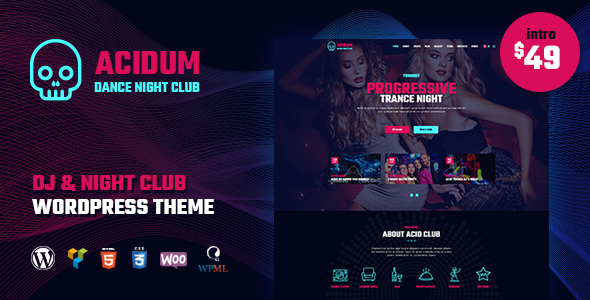 Acidum - DJ, Dance & Disco Night Club WordPress Theme