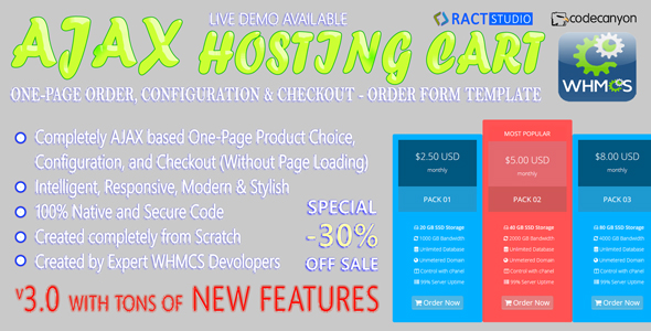 Powerful AJAX Hosting Cart - One-Page Order, Configure & Checkout - WHMCS Order Form Template
