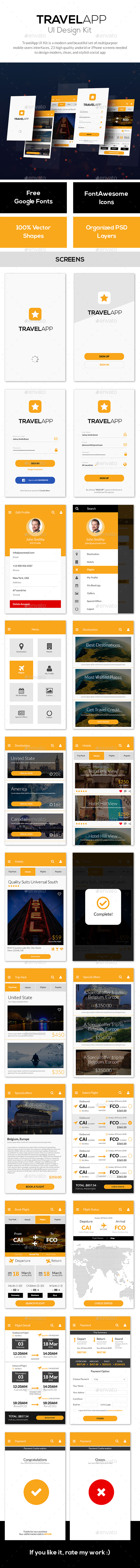 Travel, Tour, Hotel Booking Mobile App Mobile UI - Star Travel - User Interfaces Web Elements