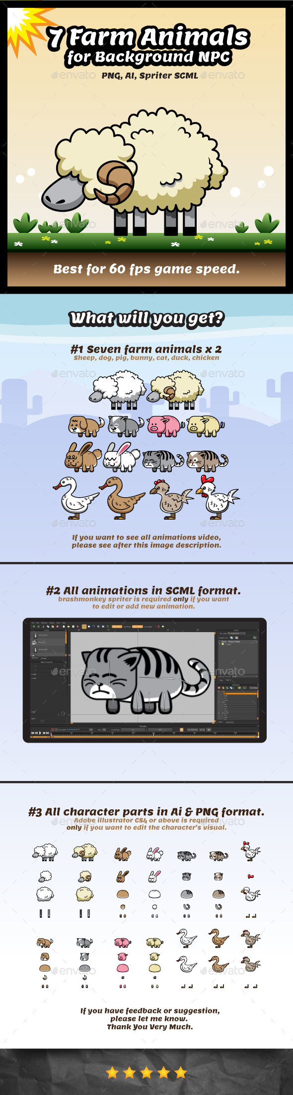 Farm Animal Game Character Sprites | NPC for Background - Sprites Game Assets