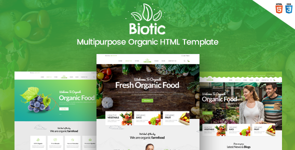 ThemeForest Biotic Organic Food Products HTML Template 21078045