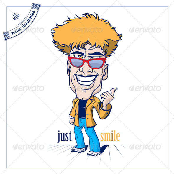 Cartoon Smile Crazy Man With The Sunglasses - People Characters