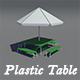 Plastic table and umbrella