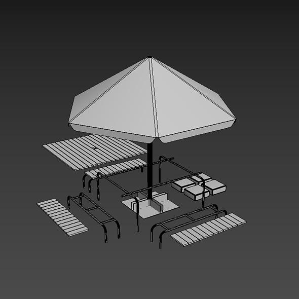 Plastic table and umbrella