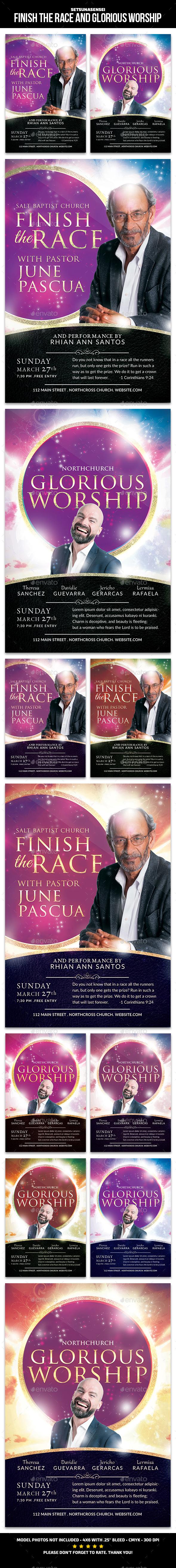 Finish the Race and Glorious Worship Church Flyer - Church Flyers