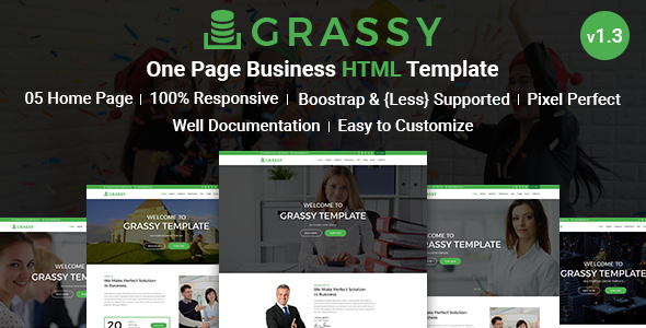 Grassy Business - Business, Corporate and  Finance One Page HTML5 Template