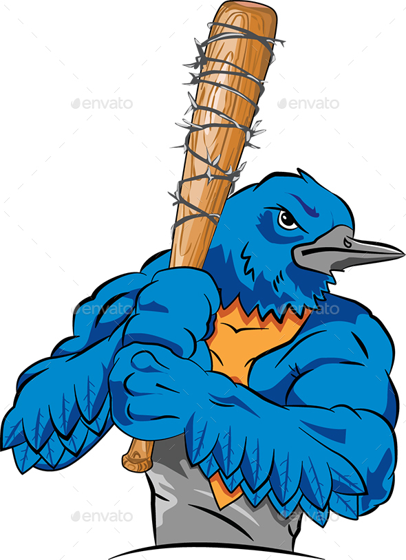 Cartoon Muscular Bird - Animals Characters