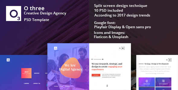 ThemeForest O three creative design agency PSD template 21139664