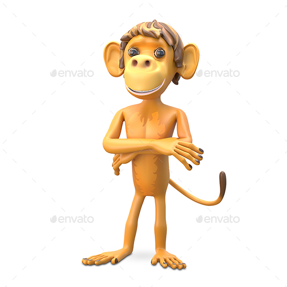 3D Illustration an Important Monkey - Characters 3D Renders