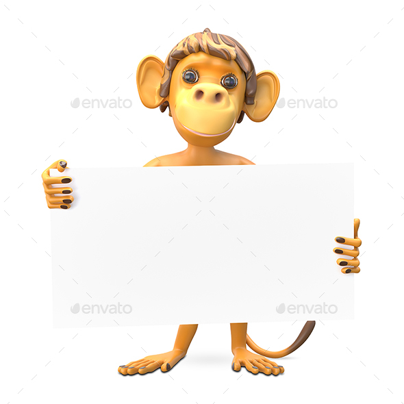 3D Illustration of a Monkey with a White Background - Characters 3D Renders