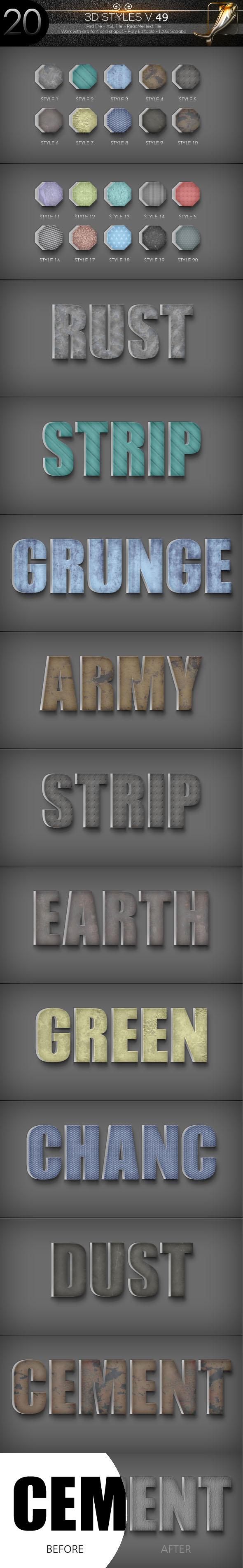 20 3D Text Styles D_50 - Styles Photoshop