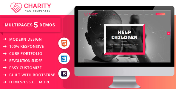 Image of Charity Nonprofit Multipage Joomla Template