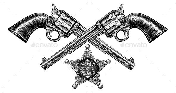 Pistols with Sheriff Star Badge - Objects Vectors