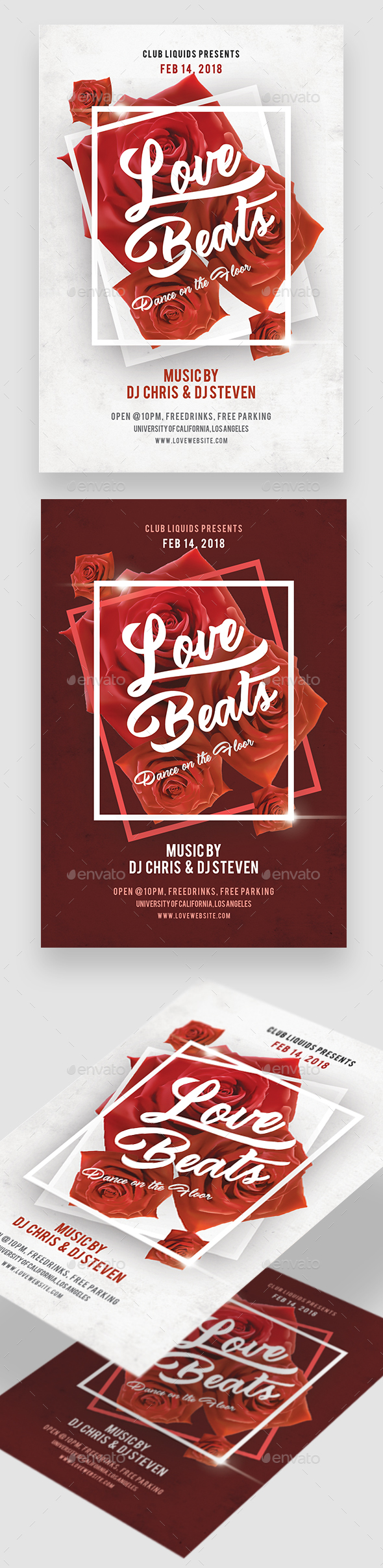 Love Beats Valentine Day Flyer - Clubs & Parties Events