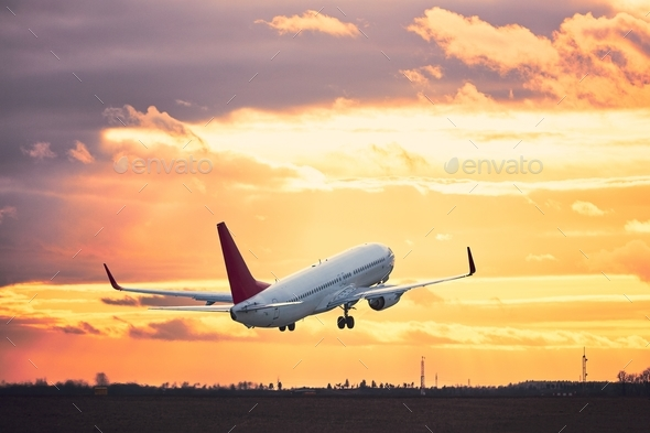 Take off at the sunset - Stock Photo - Images