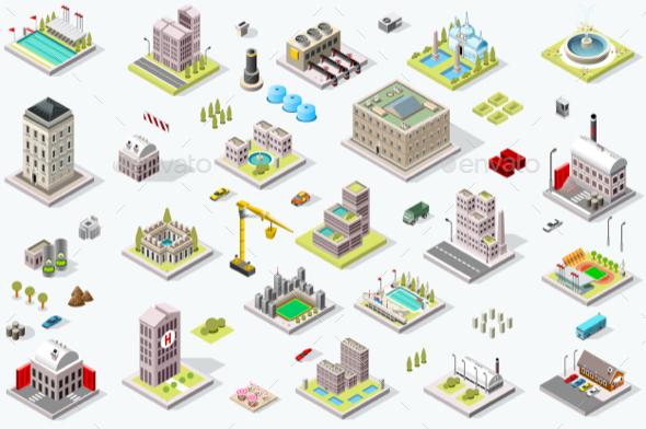 Isometric City Building Icons - Vectors