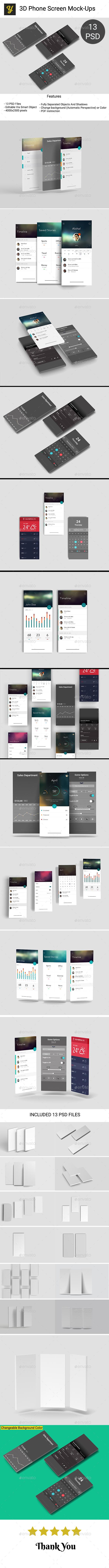 3D Phone Screen Mock-Up - Mobile Displays