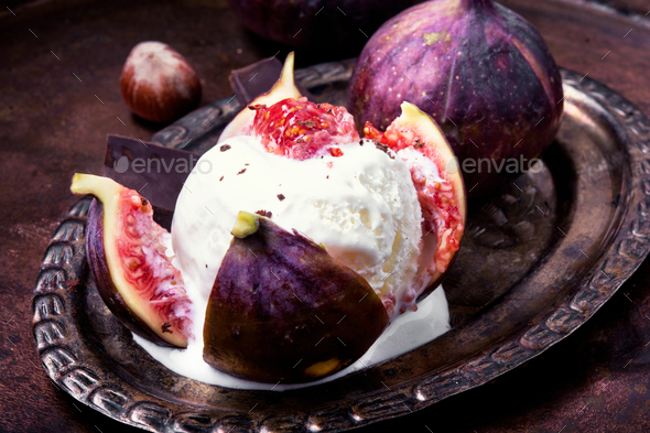 summer ice cream with figs - Stock Photo - Images