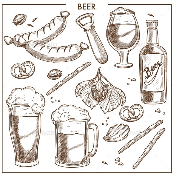 Beer of High Quality and Tasty Snacks Sketches Set - Food Objects
