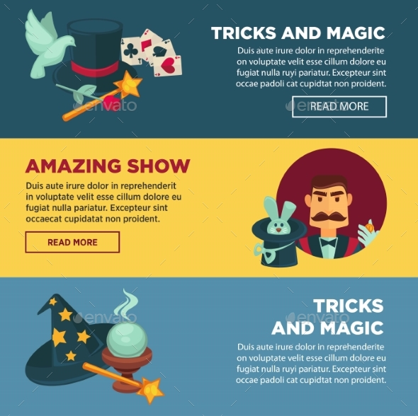 Show with Tricks and Magic Internet - Objects Vectors