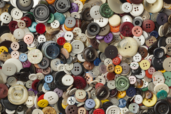 Collection of colorful sewing buttons - Stock Photo - Images