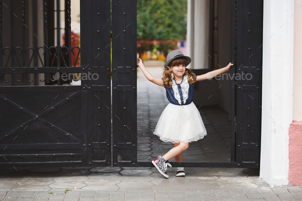 little funny girl posing outdoors - Stock Photo - Images