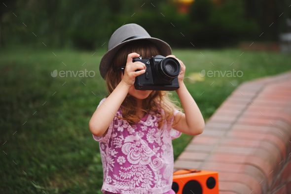 little hipster girl with big glasses - Stock Photo - Images