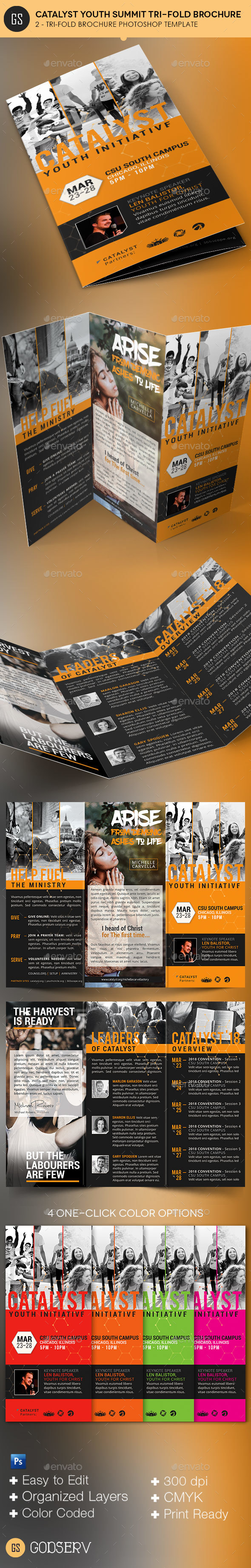 Catalyst Youth Summit Tri-Fold Program Template - Informational Brochures