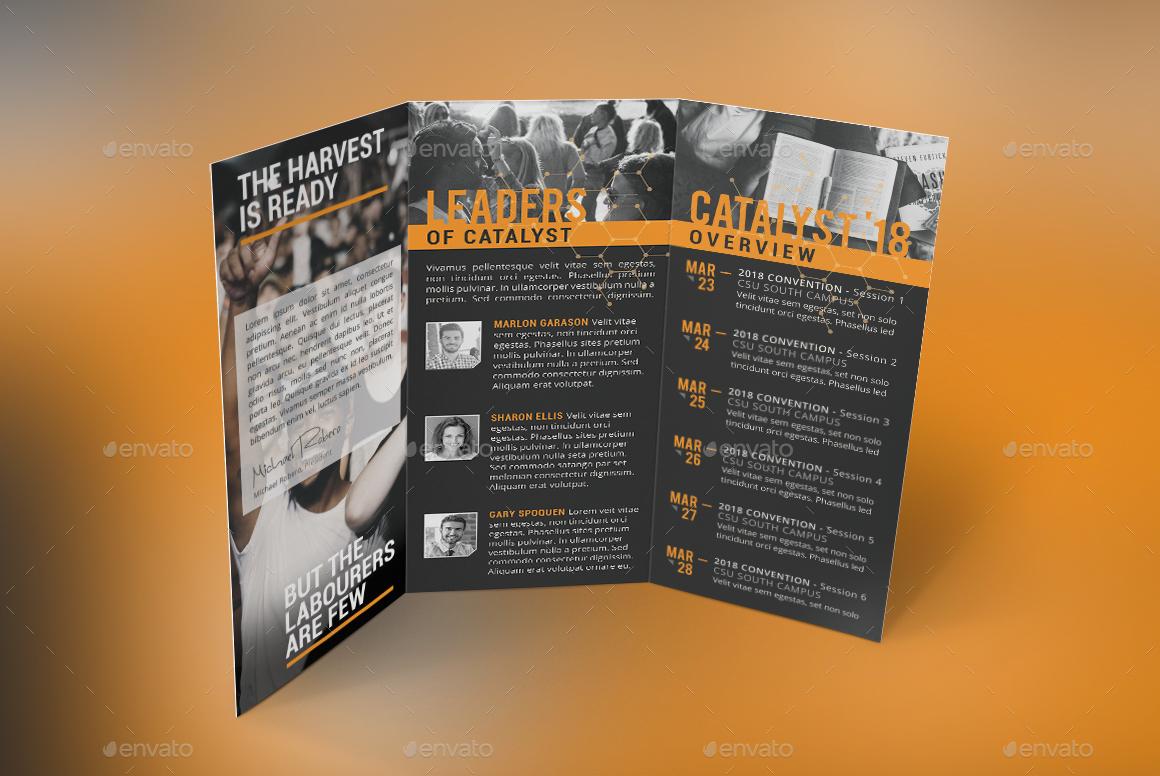 catalyst youth summit tri fold program template by godserv