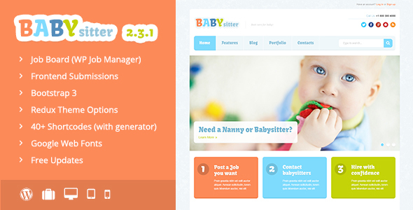Babysitter - Responsive WordPress Theme - Directory & Listings Corporate