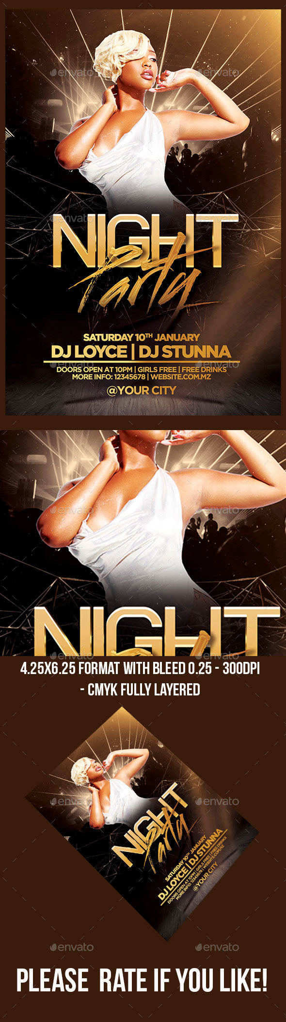 Night Party Flyer Template - Print Templates