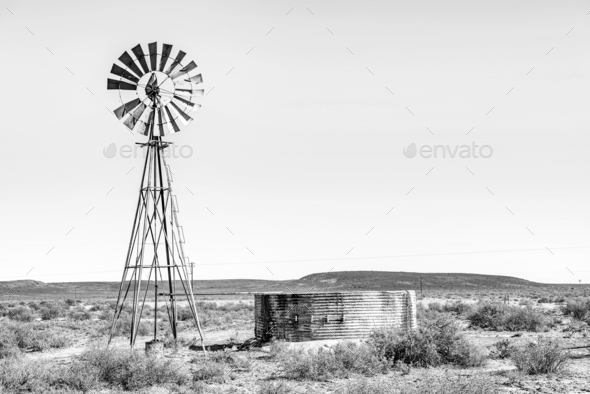 Rural monochrome Karoo scene - Stock Photo - Images