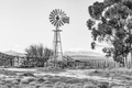 Windmill, dam and a kraal. Monochrome - PhotoDune Item for Sale