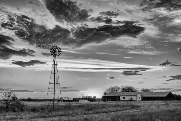 Windmill at sunset. Monochrome - Stock Photo - Images