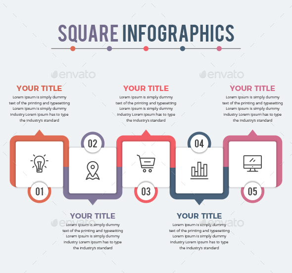 Square Infographics (5 Steps) - Infographics