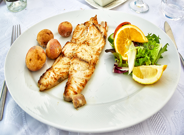 Grilled fish fillet - Stock Photo - Images
