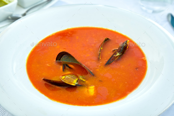Plate of mussel soup - Stock Photo - Images