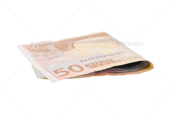 Euro banknotes on a white background - Stock Photo - Images